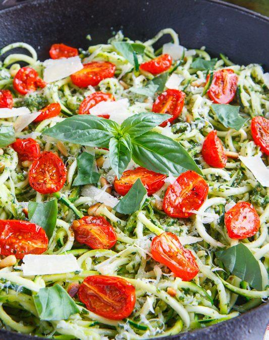 Healthy Bites Recipe: Pesto Zucchini Noodles & Grilled Chicken
