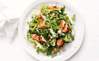 Healthy Bites Recipe: Spiced Salmon, Chickpea, Broccoli & Rocket Salad With Yoghurt Dressing